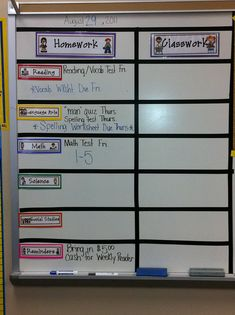 I like the way this homework board is set up.