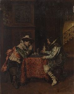 Chess game by Ferdinand Victor Léon Roybet Ferdinand, Chess, Game, Artist, Painting, Gingham, Venison, Painting Art, Gaming