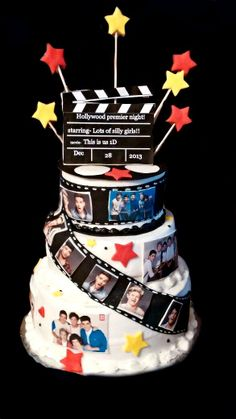 "one direction Hollywood themed cake,made this cake for my daughters Hollywood premier party..her and her friends watched the 1d ""this is us"" movie so we worked her party around that"