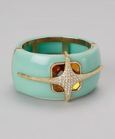 Take a look at this Gold & Turquoise Sparkle Hinged Bangle by Marlyn Schiff on #zulily today!