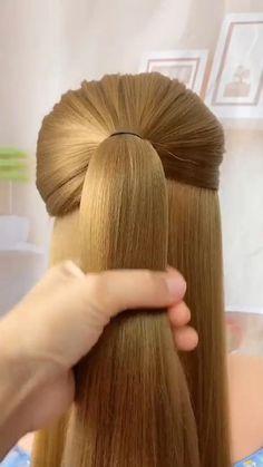 Hairdo For Long Hair, Bun Hairstyles For Long Hair, Braided Hairstyles, Hair Ponytail Styles, Front Hair Styles, Hair Style Vedio, Hair Tutorials For Medium Hair, Hair Videos, Hair Designs