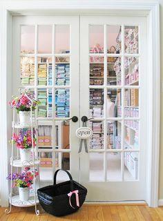 Sewing Studio glass doors Colourful Organised Sewing Studio