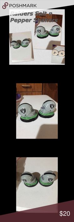Raiders Salt & Pepper Shakers Never used. Just used as showpiece  Perfect for true Raiders fan  Raiders Salt & Pepper Shakers Other