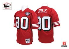 a2b255a8e Mitchell And Ness 75TH 1994 San Francisco 49ers  80 Jerry Rice Red Team  Color Throwback