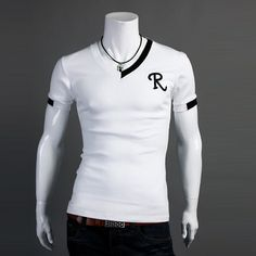Color block decoration collar male V-neck short-sleeve T-shirt r letter embroidery t-shirt