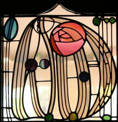 Charles Rennie Mackintosh stained glass window, The Hill House Glasgow. Disney's Beauty and the Beast used this same rose in their drawing of stained glass. Charles Rennie Mackintosh, Design Art Nouveau, Art Design, Rose Design, Glass Design, Modern Design, Interior Design, Stained Glass Rose, Stained Glass Windows