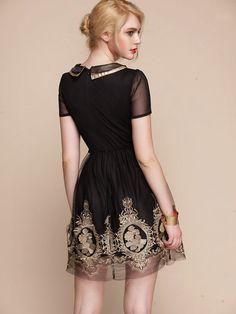 Baroque royal gold embroidery dress BLACK folk by laPupaHuman