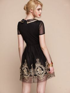 Perfect for the Christmas Party! Baroque royal gold embroidery dress BLACK folk by laPupaHuman