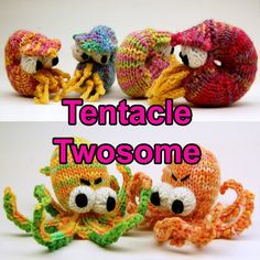Tentacle Twosome Amigurumi Pattern Pack with by cheezombie on Etsy, $7.00