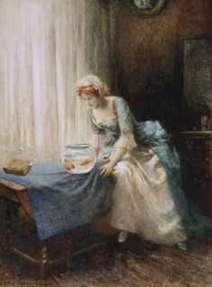 Hopkins, Arthur (b,1848)- Woman w Goldfish Bowl