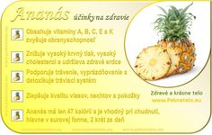 Ananas - účinky na zdravie a chudnutie Fruit Facts, Raw Food Recipes, Healthy Recipes, Dieta Detox, Graham Crackers, Wellness, Food Art, Natural Health, Gardening Tips