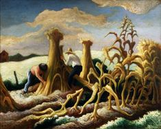 "Thomas Hart Benton (1889‐1975), ""Shocking Corn,"" 1945, oil on canvas, 23 ½ x 29 ½ inches, Minnesota Museum of American Art."