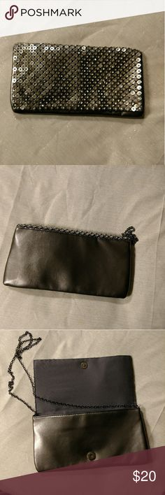 """Bling bling! clutch handbag Head turner!  Pewter clutch handbag with metal squares with crystal centers and metal shoulder strap.  Clutch has one small pocket inside. Measures11.5""""×6"""" none Bags Clutches & Wristlets"""