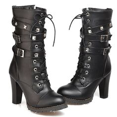 Women's Mid Calf Booties Autumn Winter Lace Up Military Buckle High Heel Cowboy Ankle Boots -- Find out more details by clicking the image : Cowgirl boots