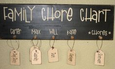 Family Chore Chart | Family Chore Chart | Pin It. I'm thinking this would easy to make and super cute! Super easy for me to just assign also instead of having to write things out on the white/chalk board.