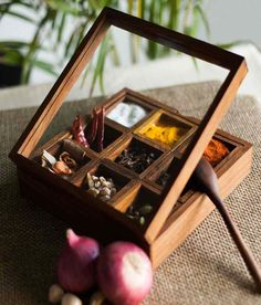Organize your spices with Skywoods Wooden Spice Box, http://www.snapdeal.com/product/wooden-spice-box/622029670748