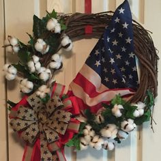 """Old Cotton Fields Back Home Wreath Indoor/ Outdoor Grapevine Cotton Ivy American Flag, 3 Premium Ribbons form a Bow with Streamers  23""""Wx25""""L not including streamers  #American #americanflag #usa #wreath #etsy #cotton #outdoor #decor #country #flag"""