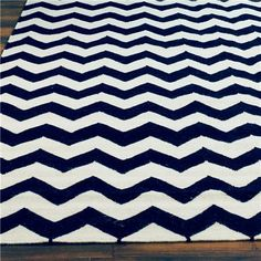 Chevron Dhurrie Rug - navy & white - Shades of Light