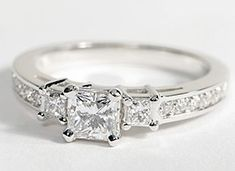 Trio Princess Cut Pavé Diamond Engagement Ring in 14k White Gold #BlueNile