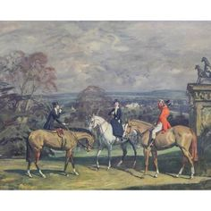 "In ""His Old Demesne,"" three aristocratic riders on horseback stop on a hill of an English country estate to have a smoke and quick swig from a flask. This fine print was published in the 2nd quarter of the 20th century by Frost & Reed after a painting byBritish sporting artist Sir Alfred James Munnings, who signed the print in pencil. Skilled at painting horses, this image shows why Munnings also has a reputation as a keen observer of social behavior. Top Paintings, Horse Paintings, Antique Prints, Vintage Prints, Alfred Munnings, Horse Oil Painting, Man On Horse, Pictorial Maps, Long Shadow"