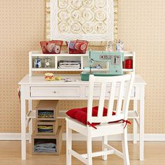 """Sewing and Craft Station - If you don't have a dedicated crafts room, adapt old desk pulled from your attic or an inexpensive one found at a thrift store. Add a small hutch or cubby shelf to house supplies. Keep fabrics and crafts papers in sight by storing them in clear-front boxes stashed underneath the desk. Hang coat hooks on the side of the desk to hold cutting tools and keep them off the work space."""