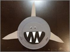 paper plate shark craft idea for kids