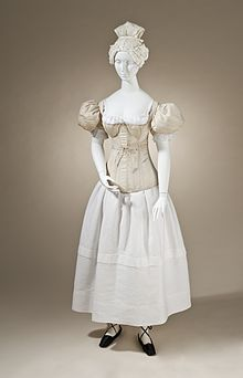 Sleeve plumpers, corset, chemise and petticoat of the 1830s, Los Angeles County Museum of Art.