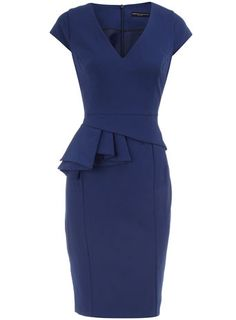 Navy V neck peplum dress