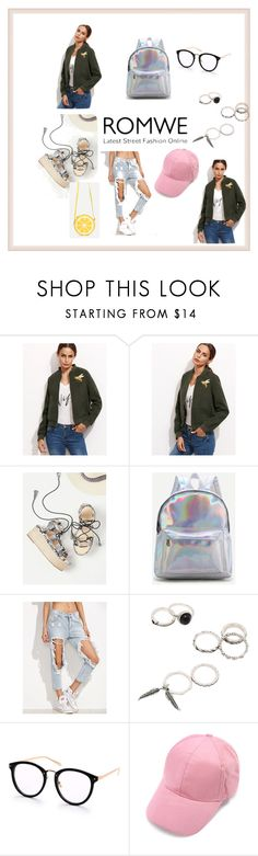 """""""Romwe: Army Green Jacket"""" by sabii-dlii ❤ liked on Polyvore"""