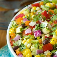 Mexican Chopped Salad The freshest, healthiest, most summery salad. It's loaded with fabulous Southwestern flavor. Author: Chris Scheuer Recipe type: Salad Cuisine: Mexican, Southwestern Serves: as a side Mexican Food Recipes, Vegetarian Recipes, Cooking Recipes, Diet Recipes, Recipies, Cooking Tips, Kale Recipes, Avocado Recipes, Mexican Party Foods