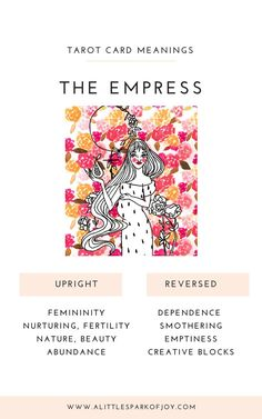 Nature, focusing on vibrations, and physical activity are all connected to the Empress tarot card. Find here free card meanings of the empress tarot card. Major Arcana Cards, Tarot Major Arcana, Tarot Significado, Tarot Cards For Beginners, Rider Waite Tarot, Tarot Card Meanings, The Empress, Tarot Readers, Tarot Spreads