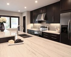 Cabinets too dark, but great countertops and design.