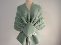 Knitted Green Wrap Stoleluxury style for by NRWhandmade on Etsy, $78.00