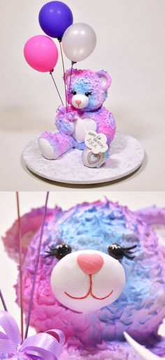 What an ADORABLE teddy bear cake! How sweet would this be for a little girl's bi… - Birthday Cake Blue Ideen Build A Bear Birthday, Teddy Bear Birthday Cake, Build A Bear Party, Little Girl Birthday Cakes, Little Girl Cakes, Teddy Bear Cakes, Picnic Birthday, Cool Birthday Cakes, Easy Birthday Cake Recipes