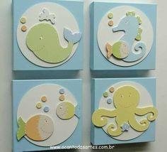 Quadros Fundo do Mar Colorido - O Canto das Artes - Decoração para Bebês