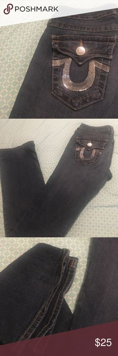 True Religion size 27 boot silver sequins Guc sparkle jeans True Religion Jeans Boot Cut