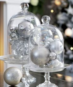 DIY Silver Baubles in Glass Cloches for 2015 New Years Table Centerpiece - Table Decor, New Years Decor  #2015 #new #years #eve