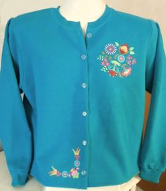 Turquoise with Hungarian Floral Design - Carole's CreationsSweatshirt Jackets