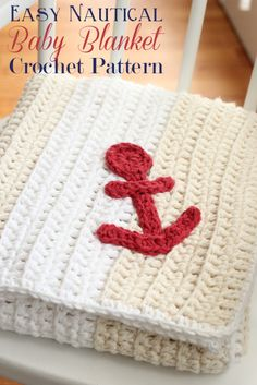 Free Crochet Pattern: Easy Nautical Baby Blanket - Daisy Cottage Designs