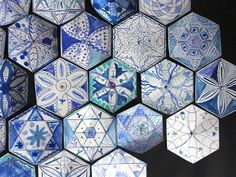 delft tiles with an islamic twist--mandala inspiration from Maureen Crosbie