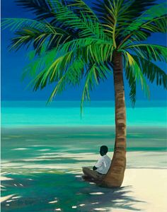 40 Beautiful Oil Painting Ideas To Make Your Own Wall Art African American Art, African Art, Caribbean Art, Tropical Art, Naive Art, Beach Art, Pictures To Paint, Belle Photo, Palm Trees
