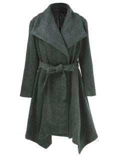 Asymmetrical Lapel Plus Size Coat With Belt - DEEP GRAY 5XL