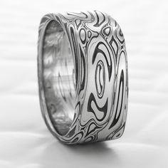 dark wood women s domed mokume gane wedding ring damascus steel