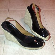 TORY BURCH Black Patent Wedges Size 10 Beautiful light worn TORY BURCH wedge. These are perfect for the Summer and in excellent condition. Tory Burch Shoes