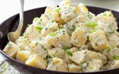 Potato salad with dill and yogurt sauce - iCookGreek Greek Recipes, Veggie Recipes, Salad Recipes, Vegetarian Recipes, Cooking Recipes, Healthy Recipes, Healthy Foods, Healthy Eating, Potato Salad Dill