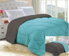 Turquoise/Granite Gray Reversible College Comforter - Twin XL
