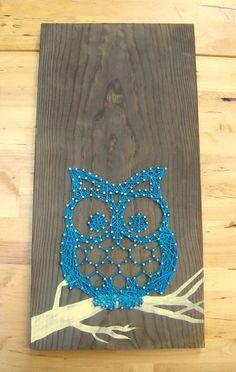 leuk werkje met spijkers en draad (uil)  Owl made from tails & string