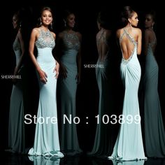 Sexy yet Contemporary Sheath Slim Blue Crystals Beaded Backless Prom Dress Tight Long Newly 2014
