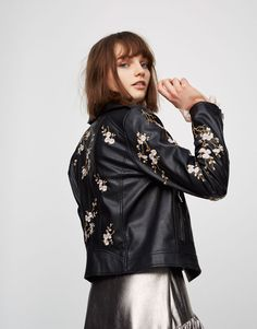 Faux leather jacket with flower embroidery - Coats and jackets - Clothing - Woman - PULL&BEAR Turkey