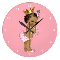Ethnic Baby Princess and Pearls Pink Large Clock